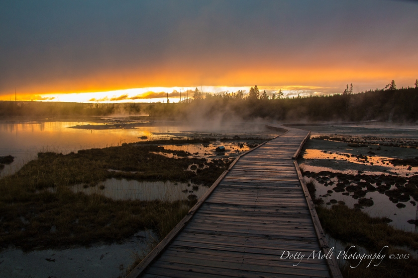 Porcelain Geyser Basin sunset